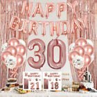 44pcs happy birthday balloons set bunting banner tinsel curtain decorations