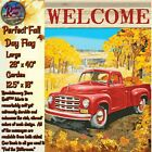 Perfect Fall Day Red Truck Flag House Garden, Flag Holder Fall Lantern Choice