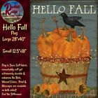 Primitive Folk Art Pumpkin Basket Hello Fall with Crow Star House or Garden Flag