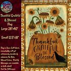 Primitive Folk Art Thankful Grateful Blessed House or Garden Flag
