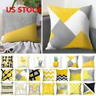 Polyester Pillow Case Sofa Car Waist Throw Cushion Covers Home Decoration Yellow