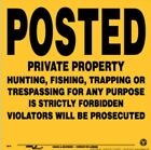 """Posted No Trespassing Plastic Signs, Yellow with Black Letters, 11.25"""" x 11.25"""""""