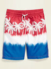 NWT Old Navy Patriotic White Palm Trees Swim Trunks Board Shorts Boys S L