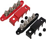 """(Red & Black) 3/8"""" 4 Stud Power Distribution Block -BUSBAR- With Cover"""