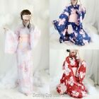 Retro Japan Women Kimono Long Sleeve Yukata Bathrobe Dress BowTie Sakura Cosplay