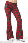 Womens 60s 70s Red Stewart Tartan Bell Bottoms Flares Hippie Vintage Indie Retro