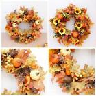 50CM Halloween Decor Fall Door Pumpkin Wreath Autumn Color Maple Leaf Garland