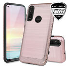 For Motorola Moto G Power 2020 Brushed Armor Rubber Case Cover +tempered Glass