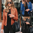 'Womens Pu Leather Jacket Zipper Biker Jacket Ladies Blazer Coat Tops Outwear Uk