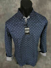 Mens Barabas Premiere Classic Fit Shirt Navy Blue w/ Square Blocks Button Front