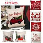 Christmas Pillow Case Santa Cotton Linen Sofa Car Throw Cushion Cover Xmas Decor
