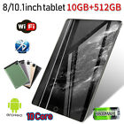 """10.1"""" Android 9.0 Tablet 10 512GB 10 Core Bluetooth WiFi HD 2560 1600 Game GPS"""