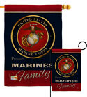Marines Proudly Family Burlap Garden Flag Marine Corps Armed Forces Yard Banner