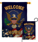 Welcome Home Burlap Garden Flag Service Armed Forces Gift Yard House Banner