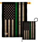 USA Thin Green Line Burlap Garden Flag Service Armed Forces Yard House Banner