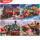 Christmas Santa Claus Train Canvas Art Picture Oil DIY Paint Set by Numbers Kits