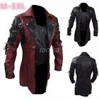 Men's Leather Coat Steampunk Gothic Coat Goth Matrix Trench Nightclub Cosplay