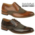 Mens Brogue Shoes Tweed Gents Office Work Smart Formal Faux Leather Lace Up Shoe