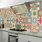 24Pcs Floral Mosaic Tile Stickers Self Adhesive Home Wall Decor Transfers Decal