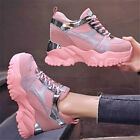 Women Breathable Platform Wedge High Heels Fashion Sneakers Boots Lace Up Casual