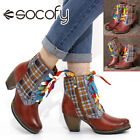 SOCOFY Womens Retro Leather Short Boots Warm Lined Lattice Shoes Chunky Hee