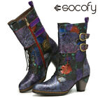 SOCOFY Women Vintage Embossed Genuine Leather Casual Boots Warm Lined Heel Shoe