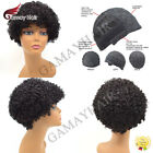 US Afro Human Hair Wig with Bangs Short Kinky Curly Wigs for Black Women Natural