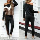 Womens Jogging Suit Leo Print Stretch Casual Fitness Off-Shoulder Set Tracksuit