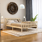 Milan Double Bed 4FT6 High Foot End Wood Frame Mattress Memory Foam Spring Pine