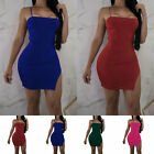 Women Off Shoulder Sleeveless Mini Dress Bodycon Evening Cocktail Party Dress