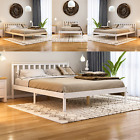 Milan Wood Bed Frame Double 4ft6 Modern Slatted Headboard Low Foot White Pine