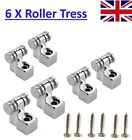 8 X Guitar Roller String Tree Silver Head Headstock Electric Retainer Rolling