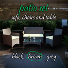 Rattan Garden Furniture Set Chairs Bench Table Outdoor Patio 4 Seat Dining