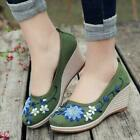 classic Womens Wedge Heel Slip On embroidery Old Beijing cloth shoes