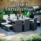 Rattan Garden Furniture 10 Seater Outdoor Dining Table Chairs Cube Patio Set