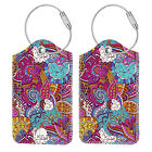 [2 Pcs] Luggage Tags Privacy Cover ID Label with Loop for Travel Bag Suitcase