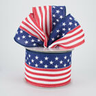 "Patriotic Stars/Stripes*FLAG*Wire Ribbon 2.5""*Old Glory(2 Lengths)Red,White,Blue"