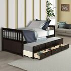 Solid Wood Twin Daybed Captain's Bed with Trundle Bed Storage Drawers for Teens