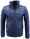 Men's Casual 100 Sheepskin Blue Nappa Leather Quilted Jacket