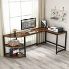 L-Shaped Computer Desk Writing Workstation with 3-Tier Reversible Storage Shelf