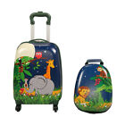 """2Pc Kids 16""""Carry-on Luggage and 12""""Backpack Upright Hard Shell School Suitcase"""