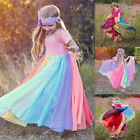 Baby Kids Girls Rainbow Splice Princess Pageant Gown Birthday Party Dresses