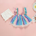 Children's Clothing Summer Girls Sling Multicolored Print Dot Dress Two-piece
