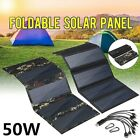 50W USB Solar Panel Folding Power Bank Outdoor Camping Hiking Phone Charger US