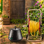 Decorative Garden Hose Pot Storage Holder with Lid Copper Finish 12 x 16 Inches