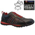 MENS LEATHER SAFETY TRAINERS STEEL TOE CAP HIKING ANKLE WORK SHOES BOOTS SIZE