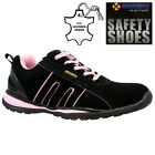 LADIES LEATHER SAFETY TRAINERS STEEL TOE CAP HIKING ANKLE WORK SHOES BOOTS SIZE