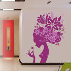 Flower Lady Girl Hair Vinyl Wall Stickers, Wall Art, Wall Decals