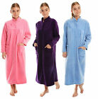 Ladies Button Front Soft Fleece Dressing Gown