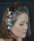 #79 Veil Set w/ SILVER ROSE HAIRCOMB & Ivory or White Birdcage Blusher, Wedding